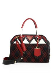 Prada Tessuto Impunto Nylon And Leather Satchel Black Red