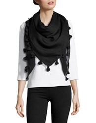 Lord And Taylor Tassel Accented Wrap Scarf Black