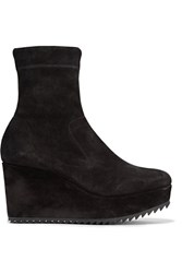 Pedro Garcia Urika Stretch Suede Wedge Ankle Boots Black