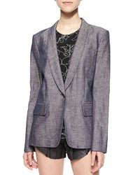 Rag And Bone Natalie Long Chambray Blazer Indigo