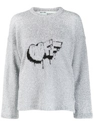 Off White Crew Neck Jumper Silver