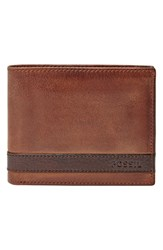 Men's Fossil 'Quinn' Leather Wallet Brown