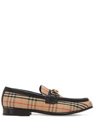Burberry 10Mm Moorley Check And Leather Loafers Beige Black