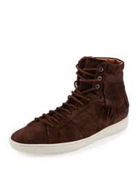 Saint Laurent Fringe Detail Suede High Top Sneaker Brown
