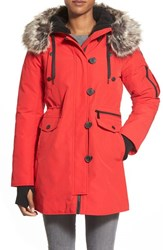 Women's Bcbgeneration 'Expedition' Faux Fur And Faux Shearling Trim Parka Red