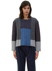 Schmidttakahashi Oversized Quilted Patchwork Sweater Navy