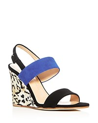 Giuseppe Zanotti Kloe Strappy Slingback Wedge Sandals Black Blue
