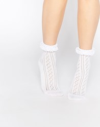 Asos Crochet Lace Frill Ankle Socks White
