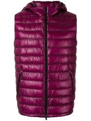 Herno Zipped Hooded Gilet Pink Purple