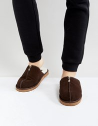 Dunlop Slip On Suede Slippers Brown