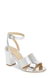 Etienne Aigner Layla Ankle Strap Sandal Silver Leather
