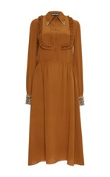 Rochas Long Sleeve Shirt Dress With Embellished Cuffs Orange