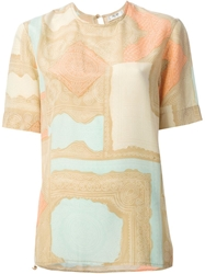 Celine Vintage Mixed Print T Shirt Nude And Neutrals