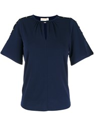 Michael Michael Kors Cut Out Embellished Blouse Blue