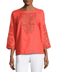 Neiman Marcus 3 4 Sleeve Embroidered Top Orange