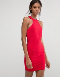 Club L Racer Neck Bandage Dress Red