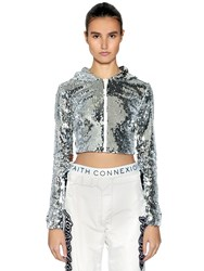 Faith Connexion Hooded Sequined Zip Up Cropped Top Silver