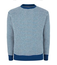 Richard James Zigzag Texture Knit Sweater Male Blue