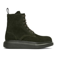 Alexander Mcqueen Green Suede Lace Up Boots