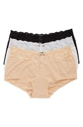 Cosabella Plus Size Women's 'Cheekie' Lace Trim Briefs Black White Blush