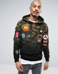 Reason Hoodie In Camo Dip Dye With Patches Green
