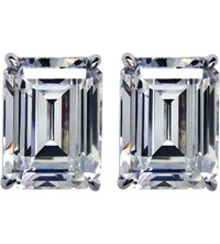 Carat Emerald 1Ct Solitaire Stud Earrings White