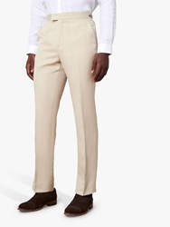 Jaeger Regular Fit Linen And Silk Suit Trousers Beige