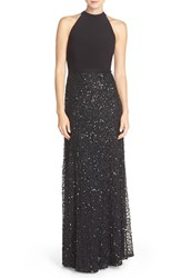 Adrianna Papell Women's Sequin Mesh And Jersey Gown Black