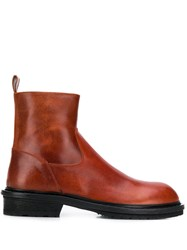 Ann Demeulemeester Country Round Toe Boots Red