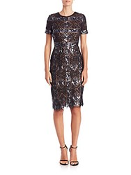 Bcbgmaxazria Samara Sequined Geo Print Dress Gunmetal