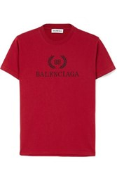 Balenciaga Printed Cotton Jersey T Shirt Red