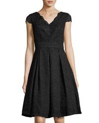 Chetta B Cap Sleeve Lace Fit And Flare Dress Black