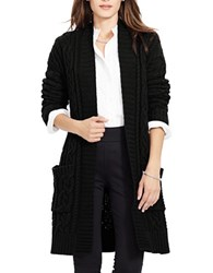 Lauren Ralph Lauren Petite Cable Knit Open Front Cardigan Black