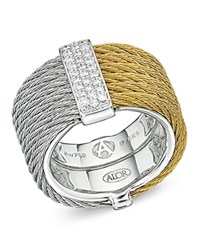 Alor Two Tone Cable Ring With Diamonds Gray Gold