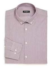 Saks Fifth Avenue Modern Slim Fit Striped Shirt Rosewood