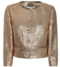 Oscar De La Renta Jewel Brocade Jacket Gold