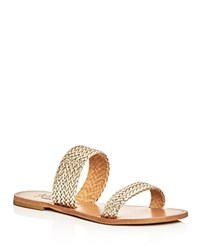 Joie A La Plage Sable Metallic Woven Slide Sandals Platino Gold