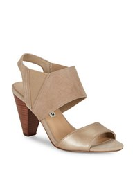 Karl Lagerfeld Floquet8 Contrast Slingback Sandals Taupe Champagne