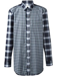 Givenchy Contrast Check Shirt Blue