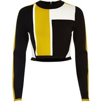 River Island Womens Black Colour Block Knit Crop Top