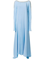 Versace Crystal Trim Pleated Maxi Dress Blue