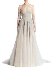 Reem Acra Embroidered Tulle Gown Gunmetal