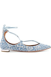 Aquazzura Christy Embroidered Denim Point Toe Flats Light Denim