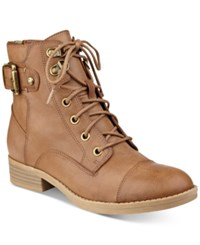 G By Guess Fella Lace Up Combat Booties Women's Shoes Caramel