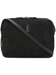 Saint Laurent Monogram Crossbody Bag Men Suede One Size Black