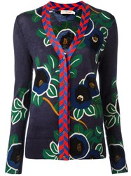Tory Burch Floral Pattern Buttoned Cardigan Blue
