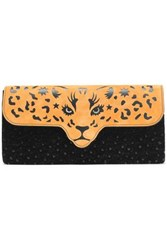 Charlotte Olympia Cutout Two Tone Embellished Suede Clutch Black