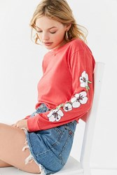 Urban Outfitters Hawaiian Flower Long Sleeve Cropped Tee Red