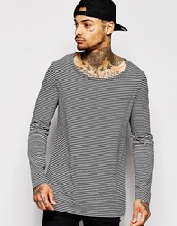 Asos Stripe Longline Long Sleeve T Shirt With Drape Neck Grey
