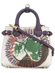 Burberry Baby Banner Tote Women Cotton Calf Leather One Size Pink Purple